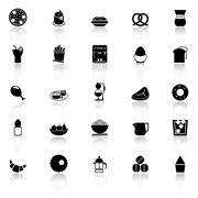 Easy meal icons with reflect on white background - stock illustration