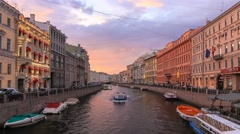 Boats on the river in Saint-Petersburg Russia Stock Footage