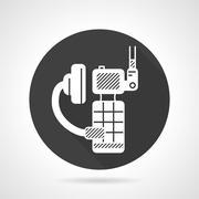 Stock Illustration of Portable radio kit black round vector icon