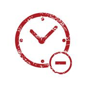 Reduce time red grunge icon Stock Illustration