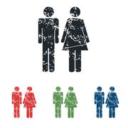 Gender signs grunge icon set - stock illustration
