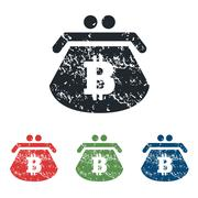 Bitcoin purse grunge icon set Stock Illustration