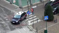 Aerial shot of emergency Police Car patrol on Mestre, Venice streets Stock Footage