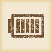 Grungy charged battery icon - stock illustration
