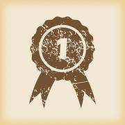 Grungy first place icon Stock Illustration