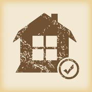 Grungy select house icon Stock Illustration