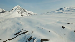 Alpine Aerial Smooth Slow Snowfield Mountains HD Stock Footage
