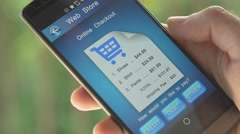 Stock Video Footage of 4K Online Checkout Process Order Smartphone App