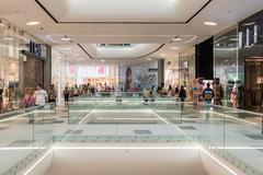 Shoppers Rush In Luxury Shopping Mall - stock photo