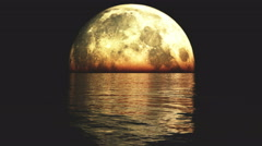 4k Full Moon on the water at night,reflect on the sea,Science Fiction Scene. Stock Footage