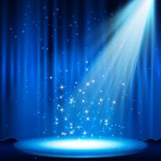 Blue Stage with spotlight Stock Illustration