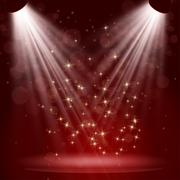 Stock Illustration of Empty stage with lights on red background