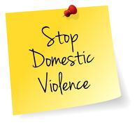 Stop Domestic Violence Yellow Stick Note - stock illustration