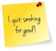 I Quit Smoking For Good Yellow Stick Note - stock illustration