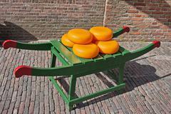 Wheels of Dutch Gouda Cheese Stock Photos