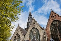 Old Church in Amsterdam Stock Photos