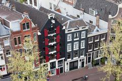 Houses in Amsterdam from Above - stock photo