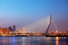 Erasmus Bridge in Rotterdam at Twilight - stock photo