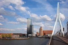 City of Rotterdam from Erasmus Bridge - stock photo