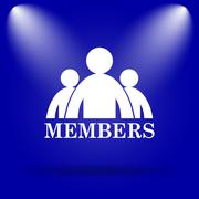 Members icon. Flat icon on blue background.. - stock illustration