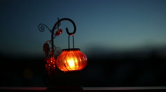 Lantern with a candle - stock footage