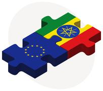 European Union and Ethiopia Flags in puzzle Stock Illustration