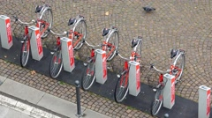 MESTRE, ITALY - circa MAY, 2015: Aerial view of public service bicycle rental Stock Footage