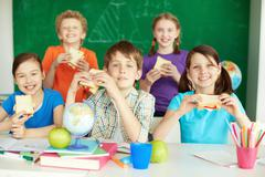 Lunch in school - stock photo
