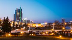Business Center Of Minsk At Night Scene Street. Building, Downto - stock photo