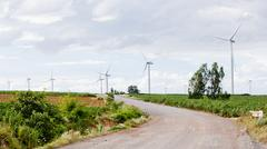 Wind turbines, pure energy,windmills in the fields in Thailand - stock photo