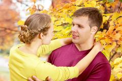 Autumn romance Stock Photos