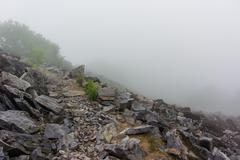 Appalachian Trail Jagged Rocks Dropping Off into Fog Stock Photos