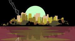 Lightning Strike City Stock Illustration