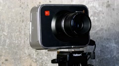 Black magic camera on tripod Stock Footage
