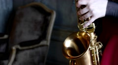 Close up saxophone player Stock Footage