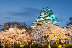 Osaka Castle during the spring season in Osaka, Japan. Stock Photos