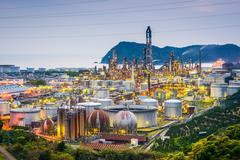 Oil refineries of Wakayama, Japan. Stock Photos