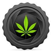 Camera shutter with marijuana leaf Stock Illustration
