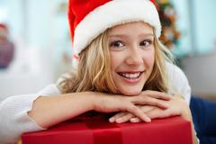 Youngster with gift Stock Photos