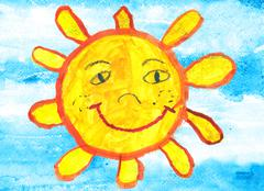 Child's drawing of a funny sun over blue sky Stock Illustration
