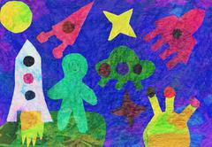 Children's artwork on the space theme - stock illustration