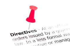 Word DIRECTIVES pinned on white paper with red pushpin, available copy space. Stock Photos
