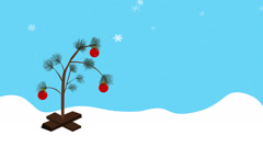 Cartoon Christmas Tree in Snow Stock Footage
