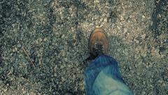 POV Walking On Gravel Path In Evening Stock Footage