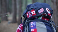 Close up of hiker on trail Stock Footage