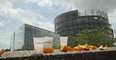 Plastic and organic garbage in front of the European Parliament Stock Footage