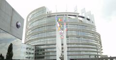 European Parliament in Strasbourg with all European Countries Flag Stock Footage