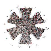 People in the shape of a star Stock Illustration