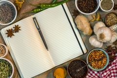 Spices - Open Recipe Book - Space for Text - stock photo