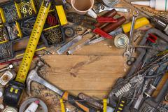 Untidy Workbench - Old Tools - Space for Text - stock photo